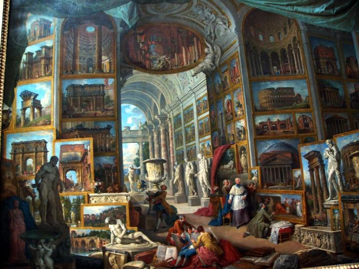 CLAVOS!Galería con vista de la Roma antigua-Giovanni Paolo Pannini